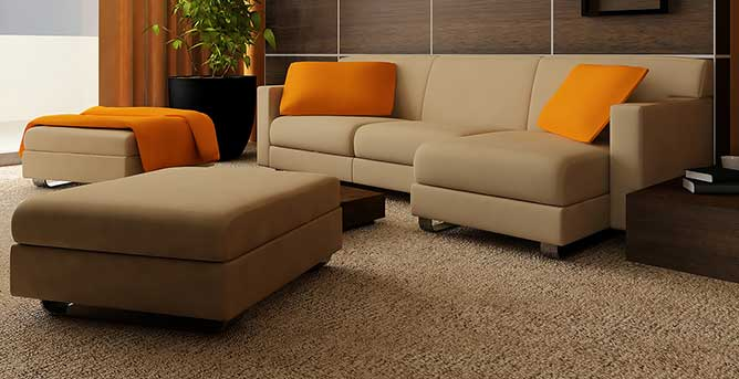 Residential and commercial interior cleaning in Phoenix by First Glass Green Cleaning showing clean couch and carpet