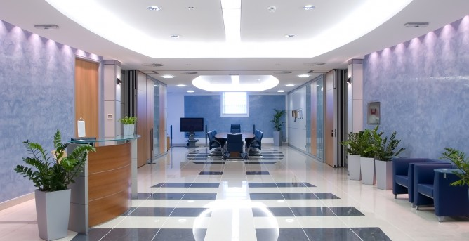 Residential and commercial interior cleaning in Phoenix by First Glass Green Cleaning showing clean tile in an office building