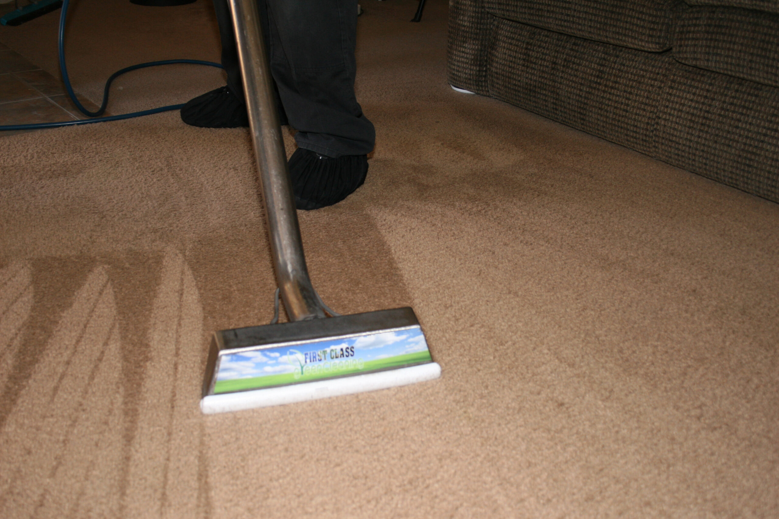 Residential and commercial interior cleaning in Phoenix by First Glass Green Cleaning showing carpet cleaning